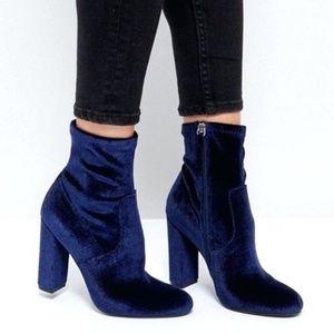 Saks Fifth Ave. Blue Velvet Boots